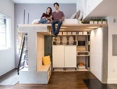 Pin itTo fit a lot of things into a little space, sometimes you have to get creative. For a San Francisco loft apartment that's only 500 square feet, architects Charles Irby and Peter Suen came up with an innovative solution — a transforming module that incorporates a lofted bedroom, a dining room, w