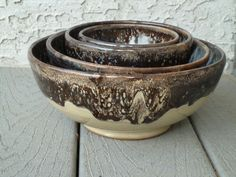 Nesting stoneware bowls by Shelley Duncan
