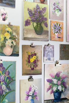 Gallery wall of vintage floral oil paintings