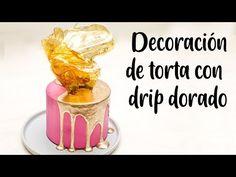 DECORACIÓN DE TORTA CON DRIP DORADO - YouTube Buttercream Cake, Frosting, Cake Decorating Videos, Americas Test Kitchen, Drip Cakes, Cupcake Cakes, Fondant, Cake Recipes, Ice Cream