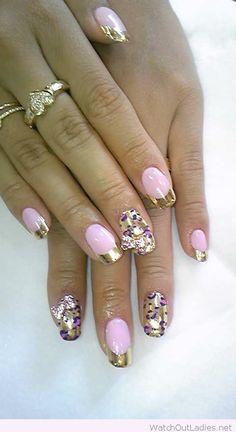 Gold and purple nail art