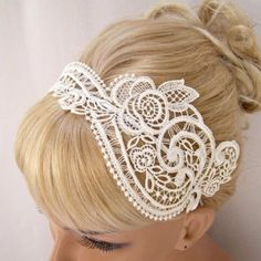 Wedding Day Hair Styles -- This lace headband looks very pretty and also looks less expensive than a lot of hair accessories. Dream Wedding, Wedding Day, Wedding Veil, Wedding Shoes, Wedding Headpieces, Ivory Wedding, White Headband, Lace Headbands, Hair Pieces