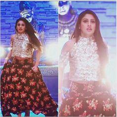 gold top with matching black floral lehanga Pakistani Dresses, Indian Dresses, Indian Outfits, Choli Dress, Indian Designer Wear, Bridal Lehenga, Bollywood Fashion, Occasion Dresses, Indian Fashion