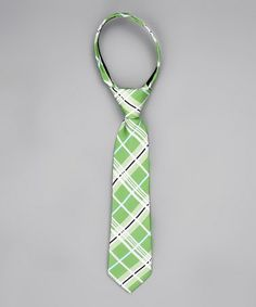 Take a look at this Mint & White Plaid Tie - Infant by Littlest Prince Couture on #zulily today!