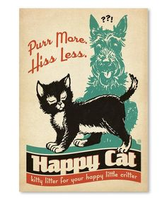 Purr More Hiss Less Happy Cat Wall Art   zulily