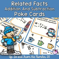 Related Facts With Addition and Subtraction Up. by The Chocolate Teacher Addition Facts, Addition And Subtraction, Addition Strategies, Adding And Subtracting, Winter Activities, Teacher Pay Teachers, Teaching Ideas, Turning, Cocoa