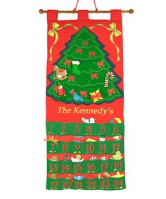 Get little ones geared up for Christmas with this personalized advent calendar. Constructed from super-soft, quilted materials and featuring hand-stitched embroidery and plushy pieces that mark the days, it's a simple way to deck the halls and get into the spirit of the season.Includes advent calendar and 24 plush toy piecesPersonalize up to 13 characters...