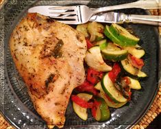 Oven roasted marinated chicken breast with baked zucchini, onion, tomato & basil (from The 10 Day Detox by Dr. Mark Hyman).
