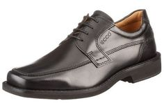 ECCO Men's Seattle Apron Toe Tie Oxford in Black and Available at Mosser's Shoes!  leather  Rubber sole  Leather Lining  Insole absorbs moisture and helps eliminate foot odor  Sole is not guled or stitched on but melted onto the leather creating a durable water tight bond  https://www.facebook.com/mossersillinois