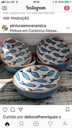 "Great Cost-Free Ceramics Bowls fish Tips So that you can paraphrase ""the bowl is a bowl can be a serving"", or even can it be? Ceramic Tile Crafts, Ceramic Painting, Ceramic Bowls, Ceramic Art, Painted Ceramics, Pottery Painting Designs, Pottery Designs, Paint Designs, Pottery Ideas"