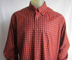 Brooks Brothers The Original Polo Shirt Red Plaid Long Sleeve Non-Iron Large #BrooksBrothers #ButtonFront