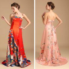 Antique Kimonos Elegantly Transformed into Contemporary Wedding Dresses
