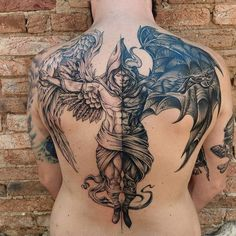 Wing Tattoo Men, Wing Tattoos On Back, Back Tattoos For Guys, Back Tattoo Men, Angel Warrior Tattoo, Warrior Tattoos, Viking Tattoos, Angel Back Tattoo, Angel Sleeve Tattoo