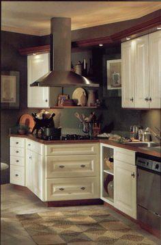 Antique White Kitchen Cabinets & Dark Wood Counter