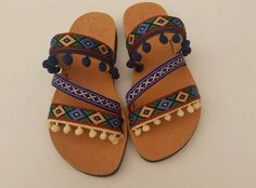 Handmade Ladies Greek Leather Sandals Boho Style Decorated Pom Pom Flat Shoe by LindosArtGallery on Etsy
