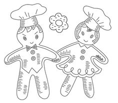 Gingerbread Boys & Girls Vintage Hand-Embroidery Pattern PDF (VP142) by primrose on Etsy