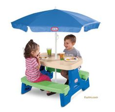 Little Tikes Easy Store Junior Picnic Table with Umbrella. The little ones would…