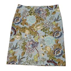 Talbots Floral Pencil Skirt Stretch Blue Brown Floral Straight Lined Size 12 EUC #Talbots #StraightPencil