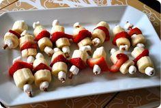 bananas, strawberries, marshmallows, pretzels