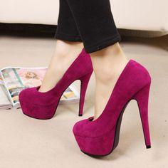 Elegant Round Toe Platform Suede Rose High Heels | martofchina.com-Page Cached