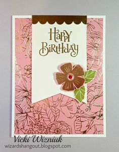 Peach and gold birthday card with CTMH Happy Times paper, Happy Times stamp, and Joyful Birthday stamp. by Vicki Wizniuk
