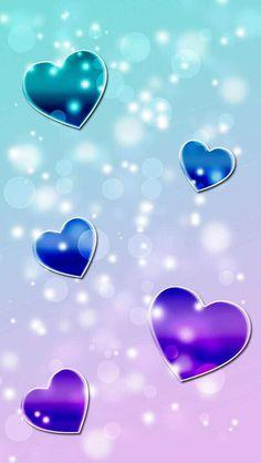 Blue & Purple Hearts Wallpaper.