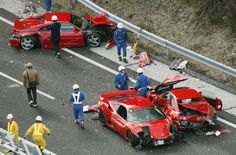 """Eight — count 'em, eight — Ferraris, three Mercedes-Benzes and a Lamborghini were among 14 vehicles totaled in what the media are calling """"the world's most expensive car accident"""" and the cops are calling """"a gathering of narcissists."""""""