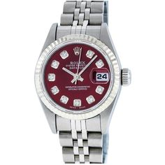 Pre-owned Rolex Datejust Watch (67,190 MXN) ❤ liked on Polyvore featuring jewelry, watches, red, pre owned jewelry, rolex jewelry, rolex watches, preowned watches and red watches
