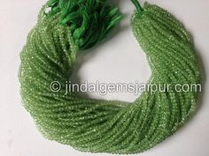 Green Amethyst Faceted Roundelle Gemstone Beads.