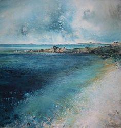 Stewart Edmondson - 'The brightness of Porth Coose Seascape Paintings, Landscape Paintings, Guache, Sea Art, Am Meer, Art Plastique, Abstract Landscape, Landscape Photography, Art Gallery