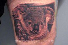 Koala Bear by Bob Tyrrell: Tattoo Inspiration - Worlds Best Tattoos Koala Tattoo, Bear Tattoos, Animal Tattoos, Tattoos For Guys, Cool Tattoos, Tatoos, Vintage Clock Tattoos, Bob Tyrrell, Night Tattoo