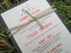 Campground Invitation Camp Theme Mitzvah Camping by pishposhparty