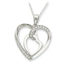 Sterling Silver Cz My Heart To Yours 18in Necklace Sentimental Expression. $54.78