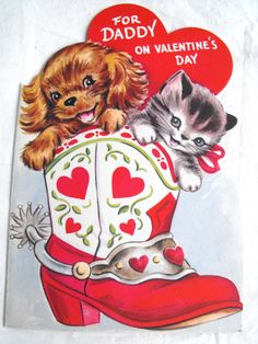 Vintage Valentines Greeting Card Kitten & Puppy in cowboy Boot. $3.00, via Etsy.