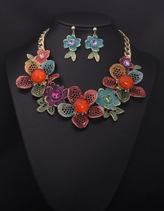 Famous brand High-end jewelry sets for woman colorful floral chunky statement necklace sets wholesale online