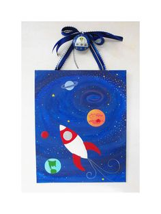 Original Painting - Canvas with Ribbon and Nail Cover - Children's Nursery Wall Art - Rocket Ship in Outer Space