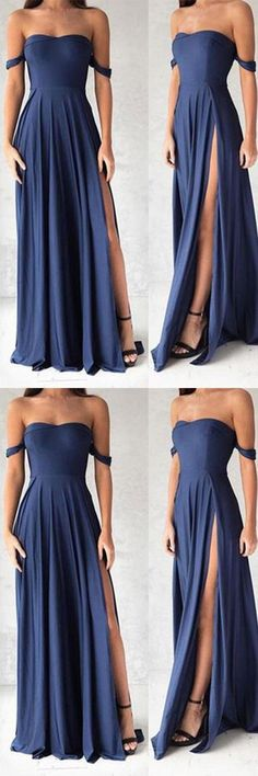 Navy Blue Prom Dresses,Elegant Evening Dresses,Long Formal Gowns,Slit Party Dresses,Chiffon Pageant Formal Dress #longpromdresses
