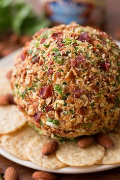 This smoked bacon ranch cheese ball is a great party appetizer! It's creamy, cheesy and loaded with tons of flavor!