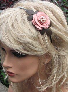 Flower leather headband