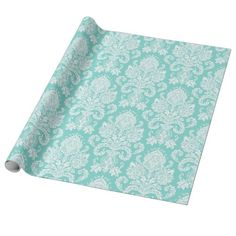 White & Tiffany Blue Floral Damask Wrapping Paper