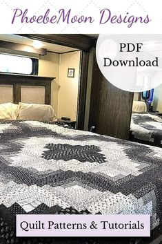 """This traditional log cabin pattern is great for scraps. Or make it dramatic, using only black and white scraps, with a red binding, of course:-)) Either way, you will find this quilt tutorial well written and illustrated. Great for a beginners first BIG quilt. Finishes about 92"""" x 92"""". And, yes, there is a pattern, available by PDF download. #quilttutorial #quiltpattern #scrapdash"""