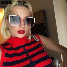 58da17b81c HBK 2017 Women Oversized Aviation Square Sunglasses Women Diamond New  Fashion Brand Designer Black Red Female. Mirrored SunglassesCat Eye ...