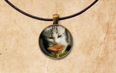 Kitten necklace Mushroom jewelry Cat pendant by SleepyCatPendants