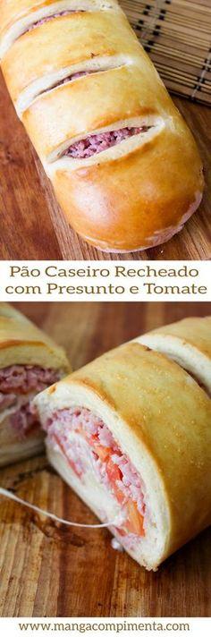 Pão Caseiro Recheado com Presunto e Tomate - Lanche para final da Tarde. #receita #comida #lanche #pão #pãorecheado #presunto #tomate #lanchedatarde