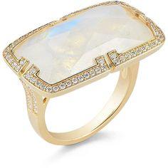Ivanka Trump Patras Rainbow Moonstone East-West Ring With Deco Diamond - Rainbow (3,840 CAD) found on Polyvore