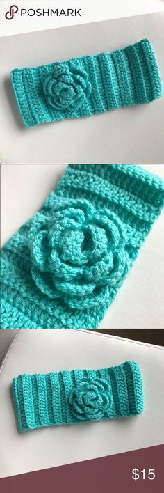 Crochet Flower Headband Wrap -Mint Color -Button in the back -Used Once -Handmade -Make an offer  -Smoke and Pet Free Home Accessories Hair Accessories