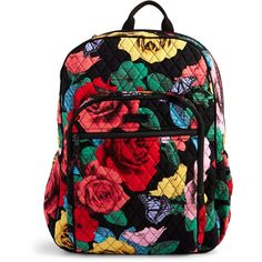 Vera Bradley Campus Tech Backpack in Cuban Tiles ($108) ❤ liked on Polyvore featuring bags, backpacks, havana rose, quilted bags, knapsack bag, mesh zipper bag, vera bradley backpack and zipper bag