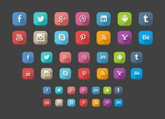 42 long shadow social icons provided in many formats and sizes. It also includes a Photoshop PSD for changing the sizes and colours. Web Design, Flat Design Icons, Icon Design, Creative Design, Social Media Buttons, Long Shadow, Social Media Icons, Social Networks, Social Media