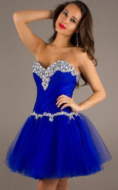 Royal Beaded Sweetheart Tulle Mini Homecoming Dress 2013...