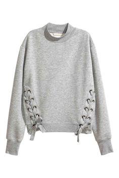 Sweat-shirt avec laçage - Gris chiné - FEMME   H&M BE
